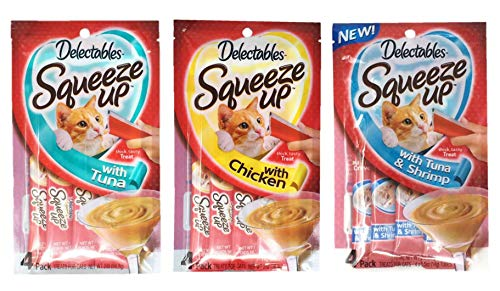Delectables Squeeze Up Hartz Cat Treats Variety Pack Bundle of 3 Flavors (Tuna, Chicken, Tuna & Shrimp; 2.0 oz Each)