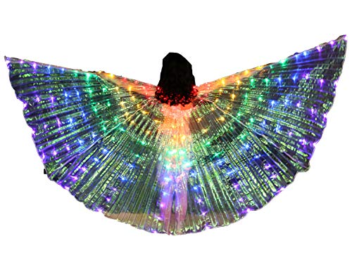 FCC Certificated LED Isis Wings Carnival Halloween Shows Led Belly Dance Isis Wings Costume for Children Girls (Wings with Sticks, Multicolor) ()