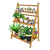 OGORI Bamboo Wood Ladder Plant Stand 3-Tier Foldable Organizer Flower Display Shelf Rack for Home Patio Lawn Garden Balcony Holder (3 Tier(Large))
