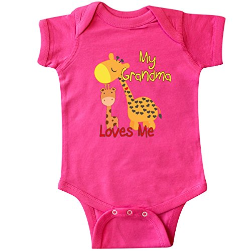 inktastic - My Grandma Loves Me Giraffe Infant Creeper 12 Months Hot Pink 28fdb (Giraffe Pink Hot)