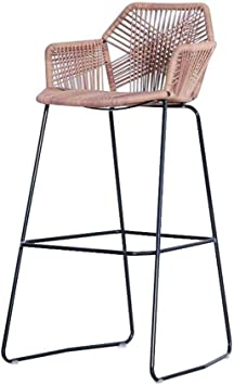 Barstools Iron Art Kitchen Counter Stool Breakfast Bar Chairs Height Stool Rattan Wicker Bar Stool Chair for Kitchen Pub Caf/é Breakfast Counter Sitting Height: 65//75cm