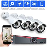 Security POE CCTV Home Security NVR System,4 Channel 1080P Surveillance IP Network Camera HD IR Night Vision Outdoor Indoor,Power Over Ethernet,Motion Detection,Mobilephone Remote View (No Hard Drive)
