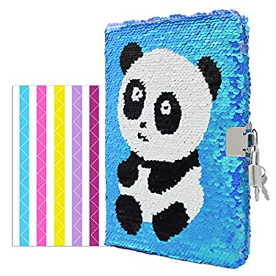 """VIPbuy Magic Reversible Sequin Notebook Diary Lined Travel Journal with Lock and Key for Kids Girls, Size A5 (8.5"""" x 5.5""""), 78 Sheets, Panda (Blue to Purple): Toys & Games"""