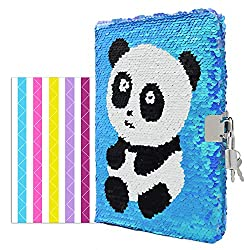 Panda Bear In Sequins Notebook Diary with Lock and Key