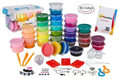 - PolyClay 36 PCS Colorful DIY Modeling Clay Air Dry Kit for Kids and Teens, Ultra-light with Accessories, Tools and Tutorials, Eco-Friendly Creative Art DIY Crafts, Non-toxic. FDA APPROVED
