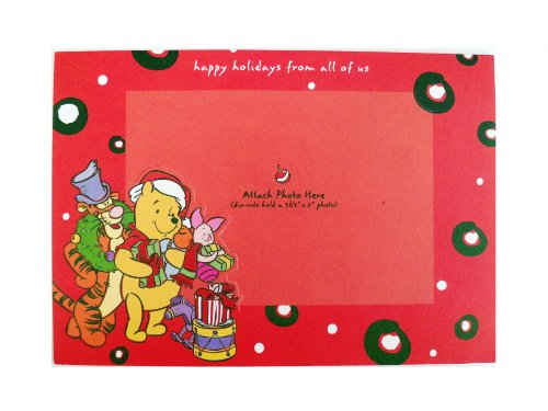 Disney Pooh Christmas Cards- Classic Pooh Photo Holder Holiday (Photo Holder Christmas Cards)