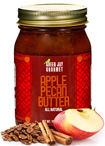 Green Jay Gourmet Apple Pecan Butter - All-Natural, Gluten-Free Fruit Spread - Pecan Apple Butter with Cinnamon - Gourmet Fruit Butter - No Corn Syrup, Preservatives or Trans-Fats - 19 Ounces