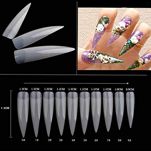 - Dragon Grain 500pcs Natural Stiletto Nail Tips Long Shape Natural Half Cover False Nail Art Tips 10 Size with Bag (Natural)