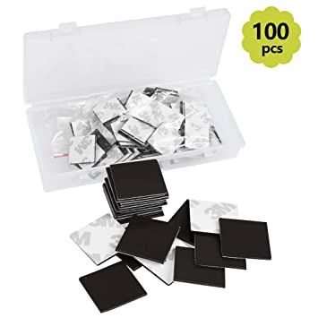 TIMESETL 100 Piezas láminas magnéticas 20 mm x 20 mm x 1,2 ...