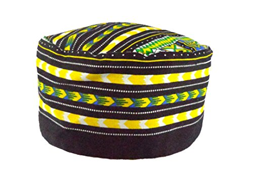 African Hat (Vipada Handmade African Dashiki Hat Kente Pattern Kufi Kofi Hat Cap (Black with Yellow Green))