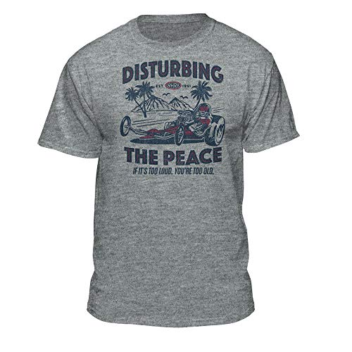 NHRA National Hot Rod Association Disturbing The Peace Official Drag Racing T-Shirt (X-Large) Athletic Heather (Nhra Clothing)