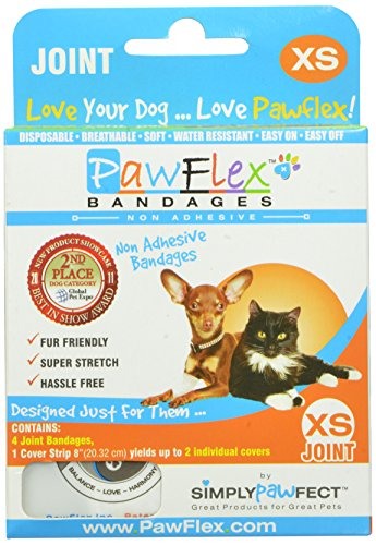 PawFlex-Bandages-Joint-4-Bandages-with-1-Cover-Strip-for-Pets-X-Small-White