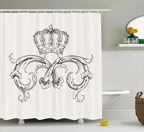 (Ambesonne Medieval Decor Collection, Royal Crown Vintage Curves King Palace Ribbon Monochrome Retro Art, Polyester Fabric Bathroom Shower Curtain, 84 Inches Extra Long, Cedar and White)