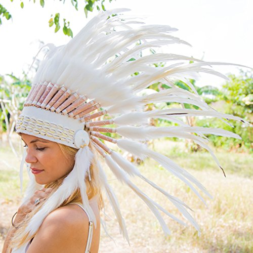 [Novum Crafts Feather Headdress | Native American Indian Inspired | White] (Male Indian Costumes)