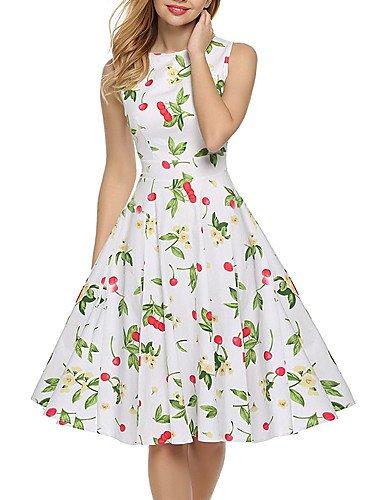 Damen Swing Kleid-Ausgehen Party/Cocktail Urlaub Retro Street Schick Blumen Rundhalsausschnitt Knielang Ärmellos Baumwolle SommerHohe , m