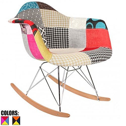 2xhome - Single (1) - Multi-color – Modern Upholstered Eames Style Armchair Fabric Chair Patchwork Multi-pattern Rocker Chrome Steel Eiffel Base Nursery Living (Style Fabric Upholstered Chair)