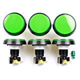 Easyget 6 pcs/Lot 5V 60MM LED Illuminated Arcade Push Button with LED Lamp & Microswitch Large Round Button for Arcade Fighting Games Projects , Arcade Video Games Projects - Green