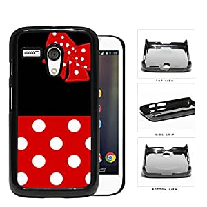 linJUN FENGCute Red and White Polka Dots Pattern on Bottom and Bow with Black Background Hard Snap on Phone Case Cover Motorola Moto G