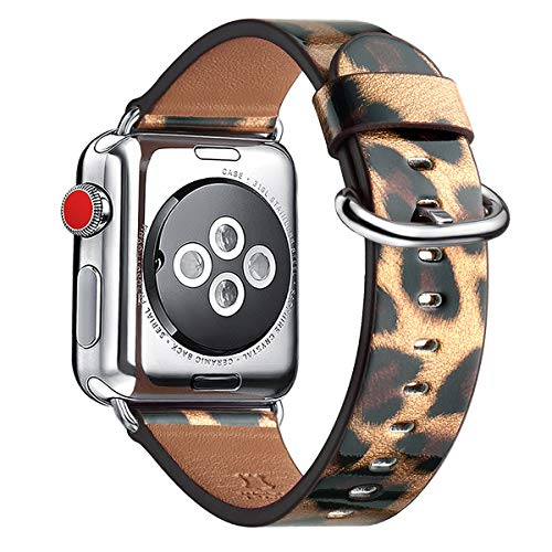 WFEAGL Compatible iWatch Band 38mm 40mm 42mm 44mm, Top Grain Leather Bands of Many Colors for iWatch Series 5,Series 4,Series 3,Series 2,Series 1 (Leopard Band+Silver Adapter, 38mm 40mm)