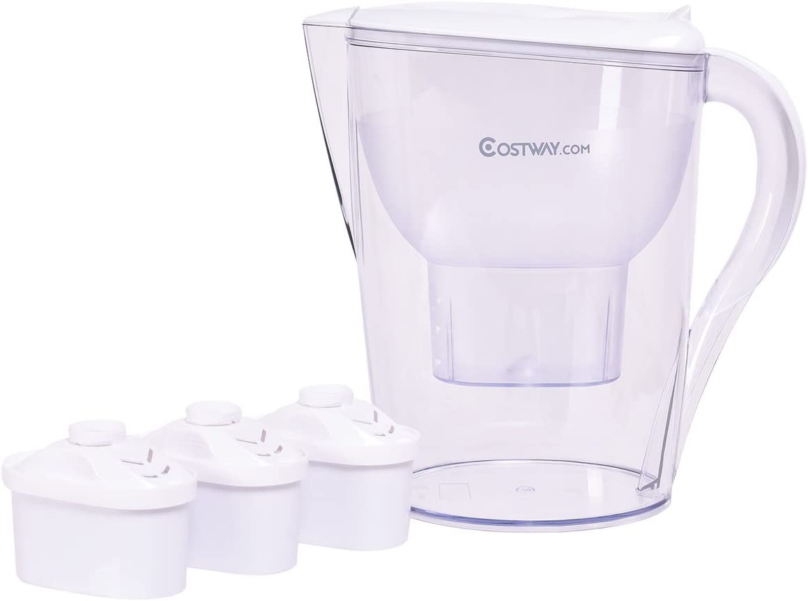 COSTWAY 14.5 Cup Capacity Water Pitcher Filter with 1 Filter Portable, BPA Free (White with 3 Filter)