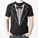 Uink Tuxedo Men's T-shirt Comfort Fit  Black L  Black  Large,Black,Large