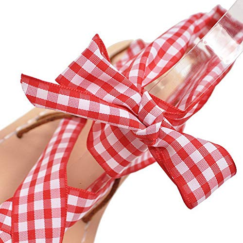 Femme à Couleurs Lacet Talon d'orteil Rouge Sandales Bas TSFLH006026 AalarDom Ouverture Mélangées 1BUqxnBg