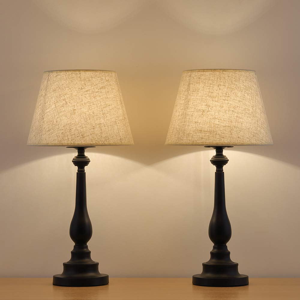 HAITRAL Table Lamps Set of 2 - Vintage Bedside Desk Lamps with Mini Metal Base and Fabric Linen Shade Bedside Lamps for Bedroom, End Table, Hallway, Office, Ideal Gifts