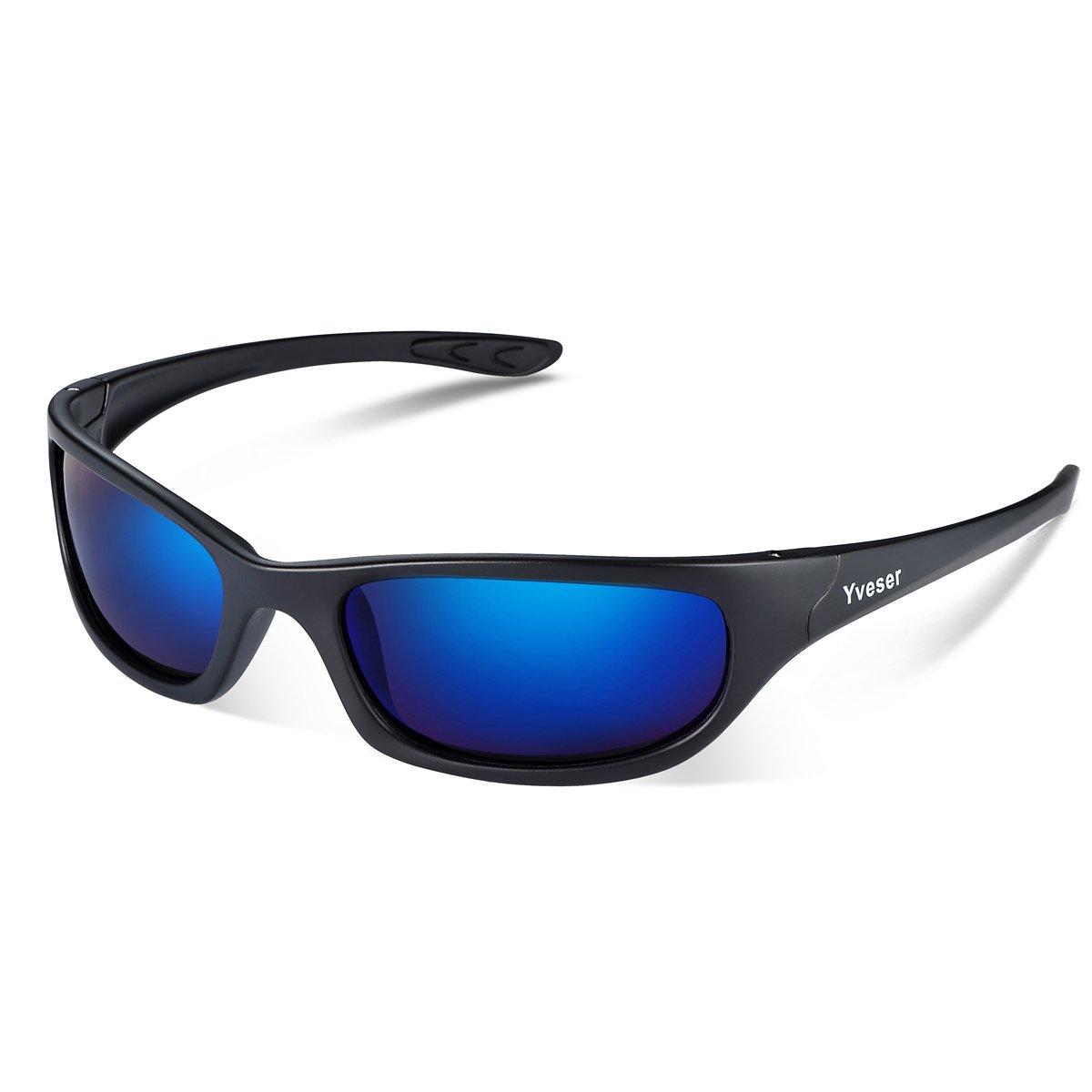 Yveser Hombre Gafas de Sol Deportivas polarizadas UV400 para béisbol, Atletismo, Ciclismo, Pesca, esquí, Excursionismo, Golf Yv148