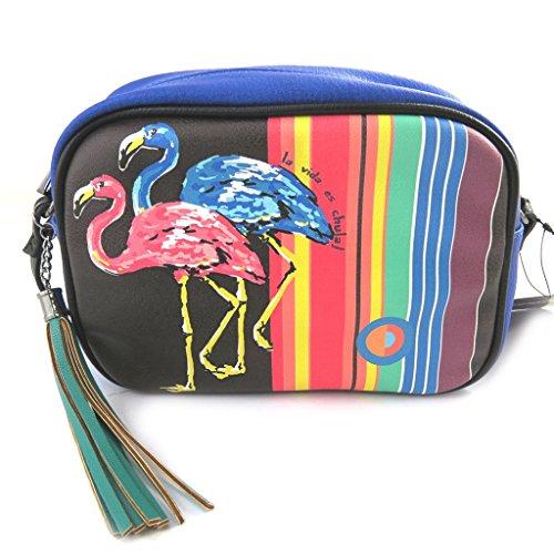 Designer-tasche Desigualschwarzer (rosa flamingos). legVIcUt