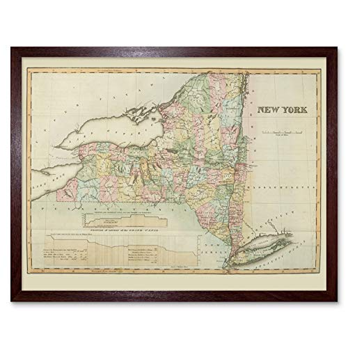 Colden 1825 Map New York State USA Art Print Framed Poster Wall Decor 12x16 inch