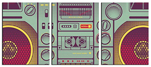 JP London SCNVT5056 3 Panel Art 2In Thick Ghetto Blaster Retro 80S Cassette Gallery Wrap Heavyweight Set of 3 Canvas Art Triptych At 36In Wide By 16In (Retro 80s Wallpaper)