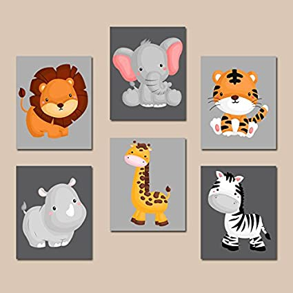 amazon com jungle animal wall art baby boy animal nursery decor