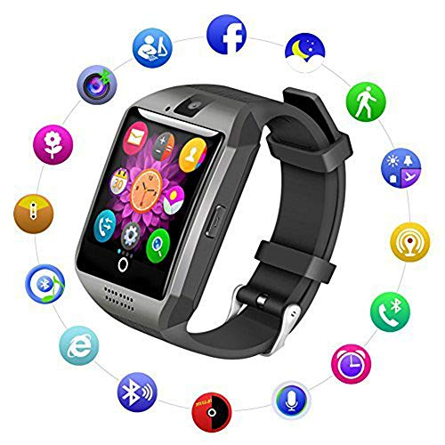 XIANGXIHUI Bluetooth Smart Watch Fitness Tracker - Sport Watch Touch Screen with Camera Pedometer Sleep Monitor Call/Message Reminder Music Player Anti-Lost - Compatible Android Smartwatches (Black)