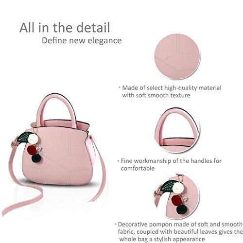 NICOLE&DORIS Nuevo Elegante Linda Bolsos de Mano Totes para Mujer Monederos Mujer Bolsos Commuter Bandolera Impermeable Durable Suave PU Negro Rosa Claro