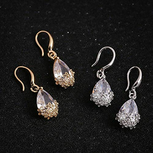 JOY Jewelry Women's Ear Ring Fashion Zircon Water Drop Hollow Flower Eardrop Dangle Earrings