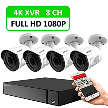 Image of 8CH Security Camera System with 4K Wired DVR and 4pcs 1080P Indoor Outdoor Surveillance Bullet CCTV Cameras with IP66 Weatherproof/ 100ft Night Vision/Motion Alert/Easy Remote Access Surveillance DVR Kits