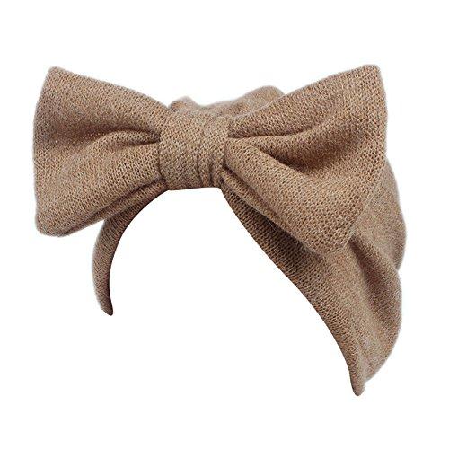 (Barlingrock Bow Knot Head Wrap,Cute Boho Knitting Hat Beanie Hat for Children Baby Kids Girls Hair Accessories (1PC) (Khaki))