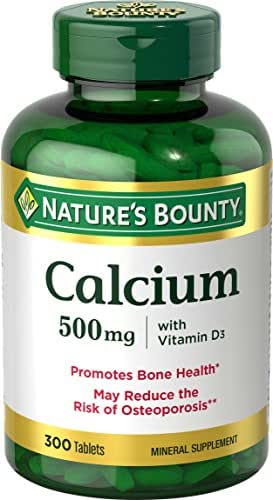 Nature's Bounty Calcium and Vitamin D3 Mineral Supplement, Supports Bone Strength and Health, 500mg, 300 Tablets