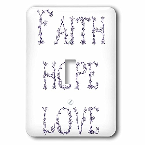 3D Rose lsp_155886_1 Purple Floral Letters Faith, Hope and Love-Single Toggle Switch, White by 3dRose