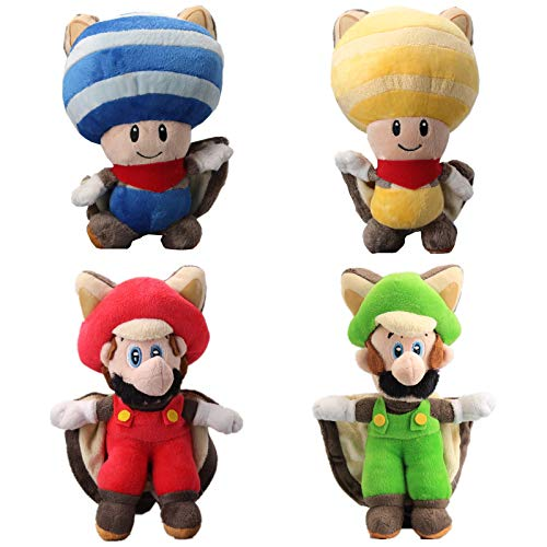 Squirrel Flying Red (UiUoU Super Mario Bros. U Flying Squirrel Mario Luigi & Blue Yellow Flying Squirrel Toad Plush Musasabi 9'' Set of 4 pcs)