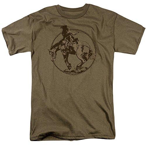 Trevco Men's Bucking Bronco Short Sleeve T-Shirt, Safari Green, Small