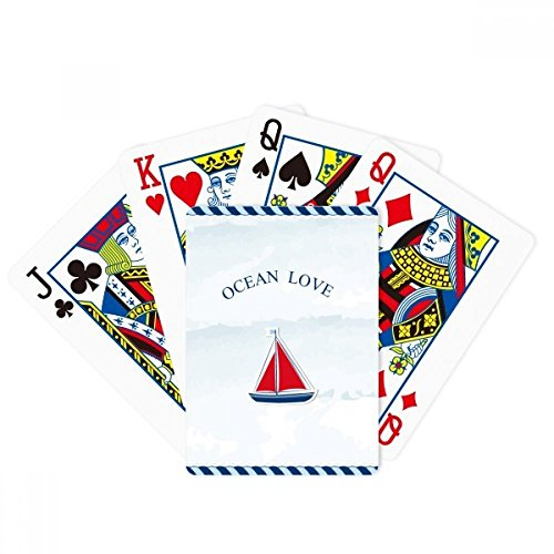 beatChong Sailboat Ocean Love Sea Sailing Blue Poker Playing Card Tabletop Board Game Gift by beatChong
