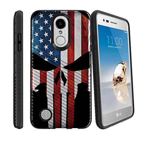 LG Phoenix 3 Phone Case with Grip Pattern [Slim Case for LG Aristo, for LG Risio 2, for LG Fortune] Hard Shell Hybrid Case for LG Rebel 2 LTE LG LV3 Phone Cover - American Flag Skull