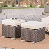 Best Outdoor Ottomans - Malibu Outdoor 16 Inch Multibrown Wicker Ottoman Seat Review