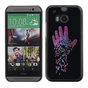 TopCaseStore / la caja del caucho duro de la cubierta de protección de la piel - Neon Pink Hand - HTC One M8