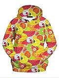 Dawafa Casual Fashion Active 3D Digital Print Food Hoodie Pullover