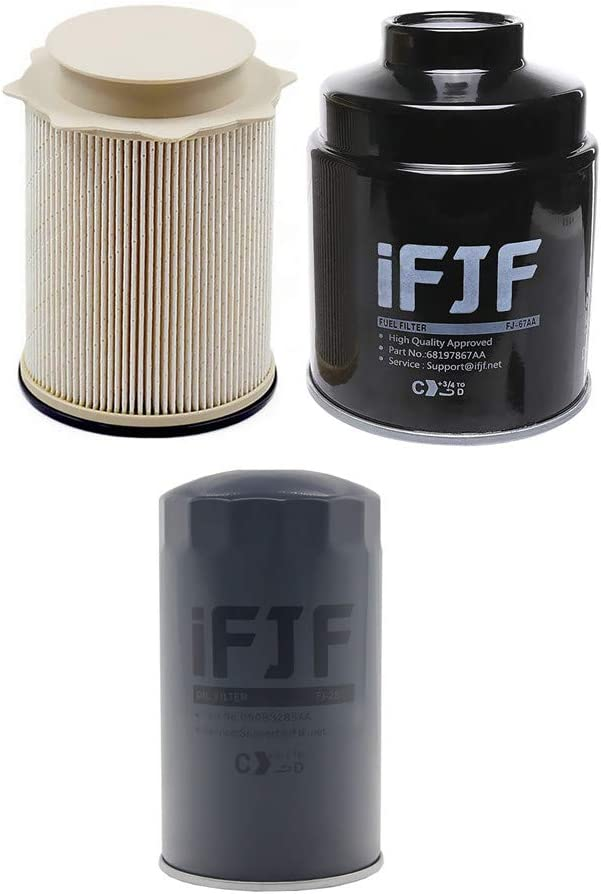 iFJF Fuel Filter Water Separator And Oil Filter Set for Dodge Ram 6.7L 2500 3500 4500 5500 6.7L Turbo Diesel Engines 68197867AA 68157291AA 5083285AA