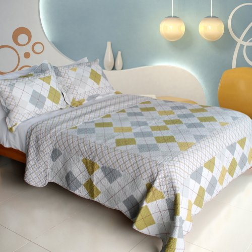 [Fantasy Drift] 100% Cotton 3PC Vermicelli-Quilted Patchwork Quilt Set (Full/Queen Size)