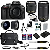 Nikon D3400 Digital SLR with AF-P DX 18-55mm f/3.5-5.6G VR Standard Zoom Lens and AF-P 70-300mm f/4.5-6.3G ED Telephoto Zoom Lens + 13-piece Deluxe Accessory Bundle