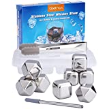 Qoolivin 8 Piece Reusable Metal Stainless Steel Chilling Stones for Scotch Whiskey Wine and Drink with Nonslip Rubber End Ice Tongs and Ice Cube Tray